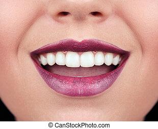 mulher saudável, dentes, e, smile.