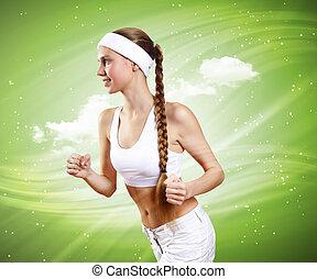 mulher saudável, desporto, jovem