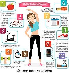 mulher saudável, estilo vida, infographics