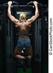 mulher saudável, jovem, exercício, costas