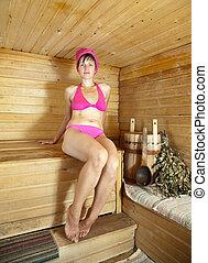 mulher, sauna