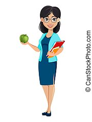 mulher, school., personagem, costas, caricatura, professor