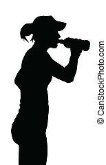 mulher, sedento, levando, bebida, brinca engarrafe