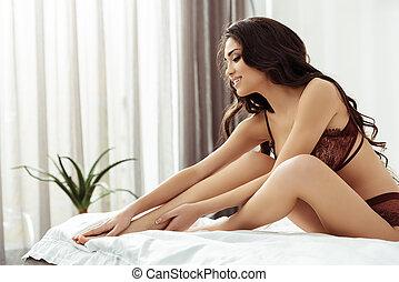 mulher, sedutor, cama