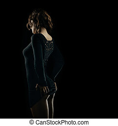 mulher, sedutor, curvas