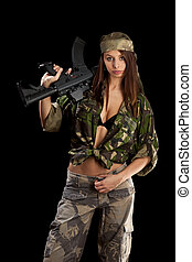 mulher segura, arma, bonito