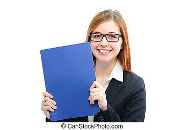 mulher segura, arquivos, para, um, entrevista trabalho