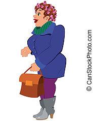 mulher segura, azul, cinzento, agasalho, saco, botas, caricatura