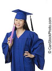 mulher segura, azul, desgastar, fundo, isolado, graduação, lápis, asiático, branca