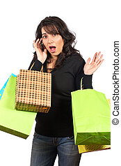 mulher segura, bolsas para compras