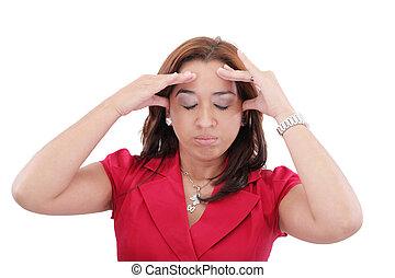 mulher segura, cabeça, dor de cabeça, jovem, fundo, isolado, branca