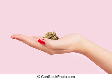 mulher segura, cannabis, bud.