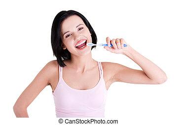mulher segura, escova, dente, grandes dentes