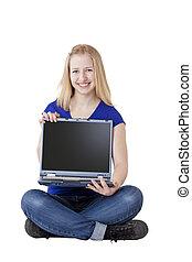 mulher segura, espaço, jovem, computador, loura, bonito, anúncio