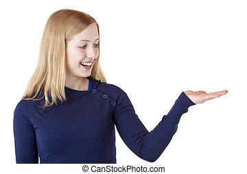 mulher segura, espaço, mão, jovem, loura, em branco, bonito, anúncio