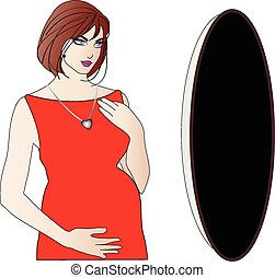 mulher segura, grávida, estômago