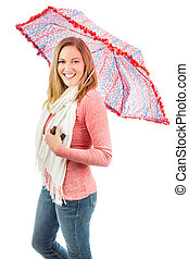 mulher segura, guarda-chuva