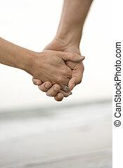 mulher segura, hands., homem