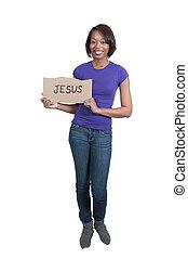 mulher segura, jesus, sinal