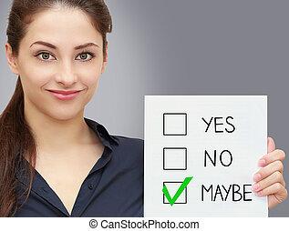 mulher segura, negócio, talvez, decisão, cinzento, fundo, em branco, teste, sorrindo
