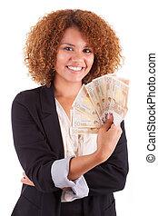 mulher segura, pessoas negócio, -, jovem, isolado, contas, americano, fundo, africano, branca, euro