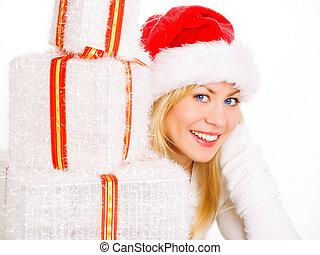 mulher segura, presentes, loura, sorrindo, natal, roupas