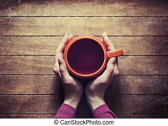 mulher segura, quentes, xícara chá