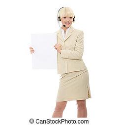 mulher segura, sinal, em branco