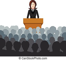 mulher, segura, um, conferência, para, um, audiência, apartamento, ilustração