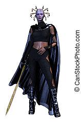 mulher segura, um, espada