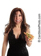 mulher segura, um, fatia pizza