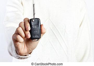 mulher segura, um, tecla carro, branco, fundos