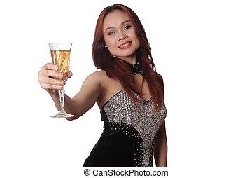 mulher segura, um, vidro vinho