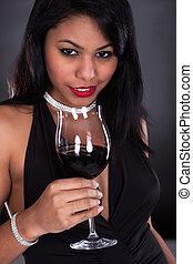 mulher segura, vidro vinho
