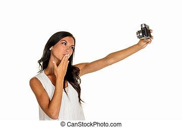 mulher, selfi
