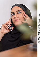 mulher, sendo, telefone