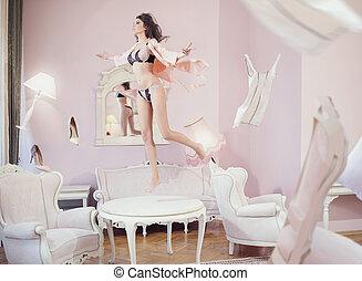 mulher, sensual, atraindo, pular