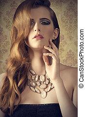 mulher, sensual, moda, elegante