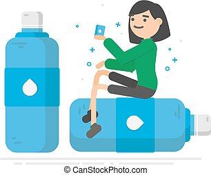 mulher, sentar, jovem, plástico, garrafa água, bottle., bebendo