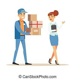 mulher, serviço correio, mostrando, ilustração, entregar, entrega, trabalhador, maneira, sorrindo, pacotes