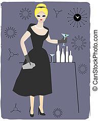 mulher, servindo, coquetel, bebida