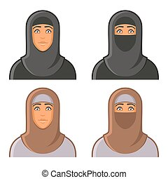 mulher, set., muçulmano, avatars, vetorial, hijab