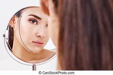 mulher, setas, rosto, olhar, espelho., levantamento