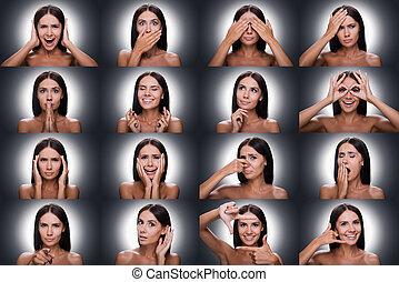 mulher, shitless, contra, fundo, jovem, colagem, emoções, gestures., gesticule, ficar, cinzento, expressar, diverso, bonito, enquanto