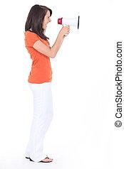 mulher, shouting, em, um, alto-falante