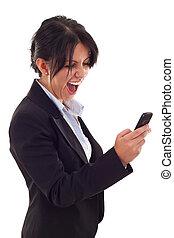 mulher, shouting, para, um, móvel