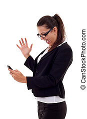mulher, shouting, para, um, telefone