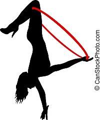 mulher, silueta, aro, algum, elementos, fundo, aéreo, branca...