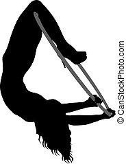 mulher, silueta, aro, algum, elementos, fundo, aéreo, branca, acrobático