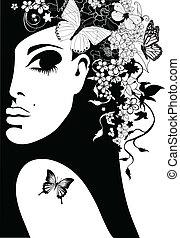 mulher, silueta, borboletas, ilustração, vetorial, flores